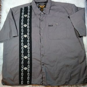 Harley Davidson Men Button Front Gray Collar Shirt